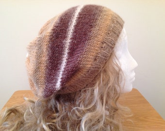 Natural Brown Slouchy Beanie Beret Hat