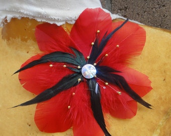 Feather  flower applique red  color