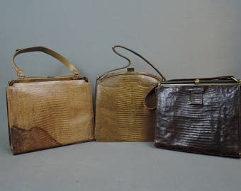 3 Vintage As Is Leather Lizard Purses, Lucille De Paris, Vassar Palizzio, 1950s