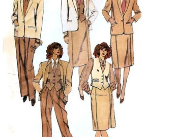 1980s Womens Business Suit Pattern, Lined Jacket & Vest, Blouse, Straight Skirt and Straight Leg Pants, McCalls 9411 Size 16 Villager UNCUT