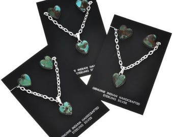 Turquoise Heart Silver Navajo Pendant Set with Earrings and Chain Native American Jewelry