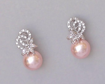 Pearl Drop Earrings, Crystal Wedding Earrings, Crystal and Pearl Bridal Earrings, Blush Bridal Earrings, CUSTOM Pearl Earrings,  LUCIA