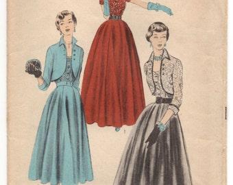 "1950's Advance Evening Dress with Bolero Pattern - Bust 32"" - UC/FF - No. 5650"
