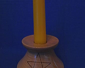 Handmade Wooden Candle Holder with  *A Pentagram*   Pagan/Wiccan.
