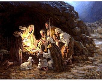 SALE Baby Jesus Nativity Scene Manger Wall Decor 8x10 Mary Joseph Painting Art Print INSTANT DOWNLOAD Digital 25% off