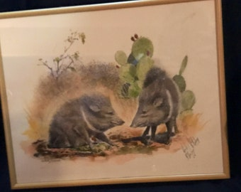 Vintage Home Decor Wall Hanging Wild Boar Hog Watercolor Framed and Numbered SALE PRICE was 40.00 now 30.00