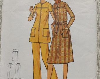 "Semi-Fitted, A-Line Dress or Tunic with Jewel Neckline in Size 38 Bust 42"" Complete Uncut/FF Vintage Butterick Sewing Pattern 6281"