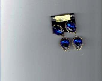 beautiful blue earring post made in korea  1980's