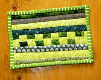Quilted Green Striped Mug Rug