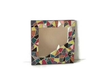 Square multicolored mosaic mirror