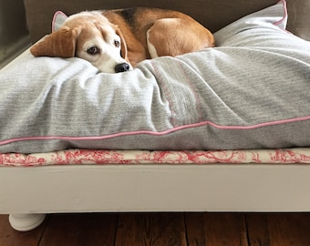 HANDMADE Raised Wooden Dog Bed with wool covered cushion, portable mat and foam mattress base
