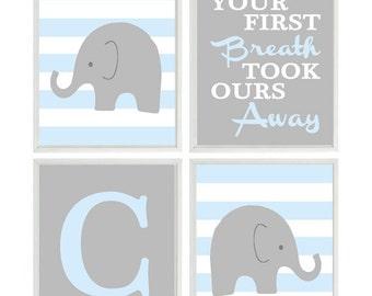 Elephant Nursery Art, Baby Boy Nursery Prints, Your First Breath, Gray Baby Blue, Initial, Personalized, Baby Boy Art, Elephant Art, Gift