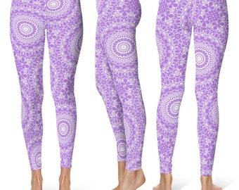 Lavender Leggings Yoga Pants, Printed Yoga Tights for Women, Purple and White Mandala Pattern