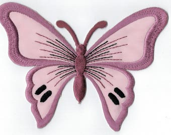Purple Butterfly purple embroidered iron or sew patch. Applique Patch 13 x 9.5 cm