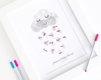 Personalised / Customised Baby Shower Fingerprint Guest Book - Happy Little Rain Cloud - Nursery Decor Print