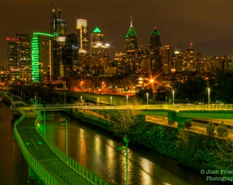 Philadelphia Skyline at Night, Photograph, Eagles, Green, Super Bowl, Schuykill River, Boardwalk, Liberty Place, Fine Art Photography, Print