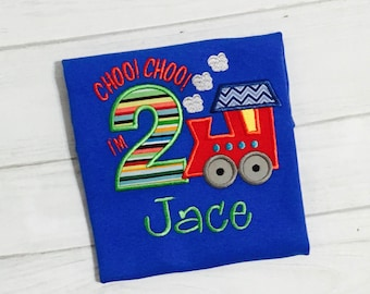3rd Birthday Train Shirt -  Choo Choo I'm 3 Birthday Shirt - Personalized Boy Birthday Shirt