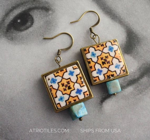 Earrings Portugal Tile Azulejo Blue and Yellow - Ovar (see photo of actual facade) and Porto Gift Box Included - Turquoise Beads 1531