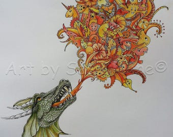 Fire-Doodles, limited edition, Doodle Art, pictures, drawing, surreal, coloured, animals, print,
