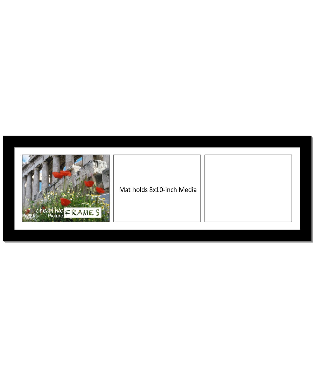 8x10 Inch 3 Opening Mat With 12 By 34 Inch Picture Frame