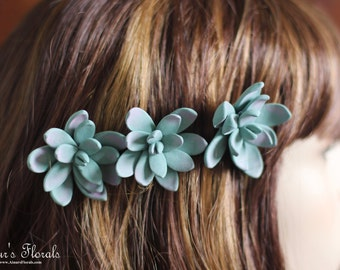 Succulent Hair Pins, Succulent Wedding Hair Pins, Succulent Hair Flower, Bridal Flower Pins