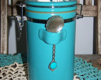 Beach Storage Jar Upcycled Turquoise Container Ceramic Jar With Sea Shells