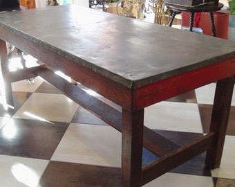 Fabulous OOAK Vintage Solid Oak  and Red Painted Work Table W/ Sheet Metal Top-Great for Retail Store Displays, Sewing or Crafting Table