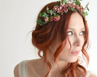 Fall flower headpiece, pink flower crown, ivy headband, rose headpiece, garden wedding, hair accessory by gardens of whimsy