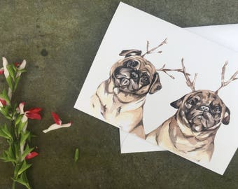Christmas Pugs-Christmas Cards-Pugs-Scrooge-cards-illustration