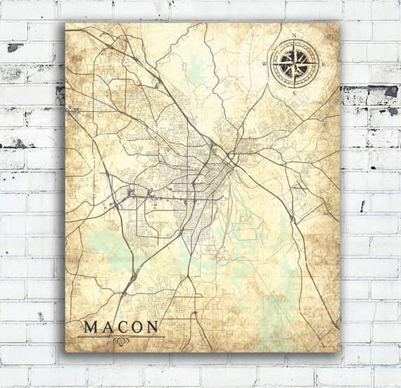 MACON GA Canvas Print Georgia GA Vintage map Macon Ga City Map