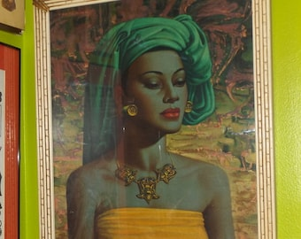 Balinese Girl by Vladimir Tretchikoff Oriental Asian Print Mid Century Modern Art Framed with Glass 1950's Kitsch
