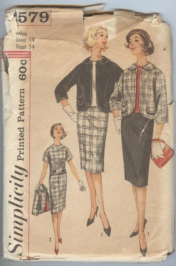 1960er Jahre Anzug Muster Einfachheit Nähen Muster 3579