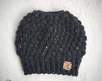Messy bun hat, messy bun beanie, crochet bun beanie, crochet messy bun breanie