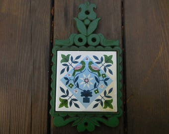Vintage 1960s to 1970s Japan Trivet Lime Green/Pink/Blue Pennsylvania Dutch Look Metal/Ceramic Tile Two Birds/Leaves/Flowers Wall Hanging
