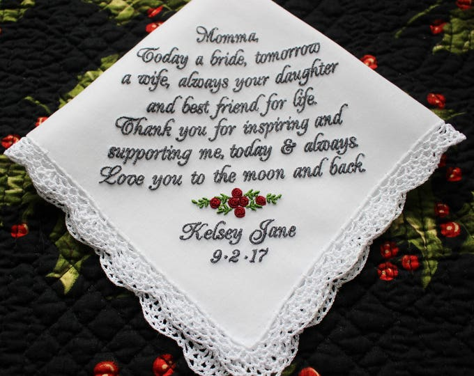 Mother of the Bride Gift, Embroiderd Wedding Handkerchief, Custom handkerchief, wedding hankies, personalized wedding handkerchief