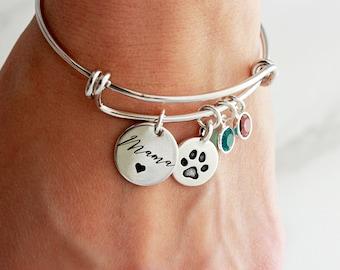 Dog Mom Bracelet - Personalized Birthstone Bracelet, Paw Print Bracelet, Pet Memorial Bracelet, Mother's Day Gift, Custom Gift, Engraved