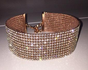 Wide Rose Gold Clear Crystal Choker, Diamond choker jewelry, Jewellery, Rhinestone choker, Gold Crystal Choker, Gem choker, Arianda Grande,