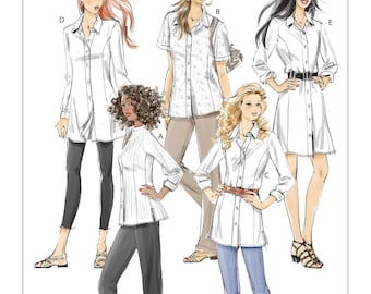 Shirts, Tunics and Shirtdress, Misses and Womans  - McCall's M6124 Sewing Pattern- UNCUT - Size: 8 -10 -12 -14 -16 or 18w -20w -22w -24w
