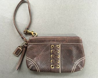 Vintage COACH Genuine Leather Brown Wristlet