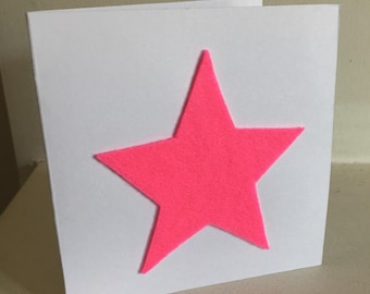 Neon Pink Star Greetings Card