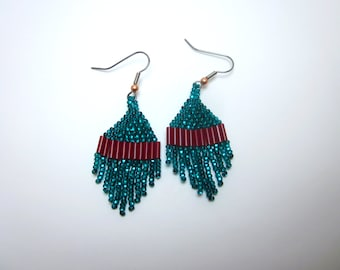 Christmas Miniature Native American Beaded Earrings