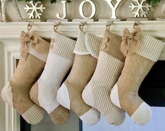 Christmas Stockings for Family - Set of Five (5) - Taupe Springs Eternal!