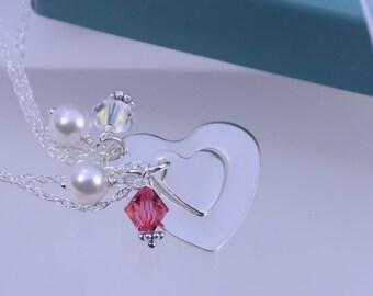Mother Daughter Heart cutout necklace set, Heart cutout necklaces