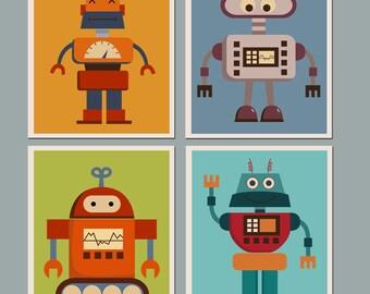 Set of 4 Prints  Nursery Art for Children Kids Wall art Baby Room Nursery Robots