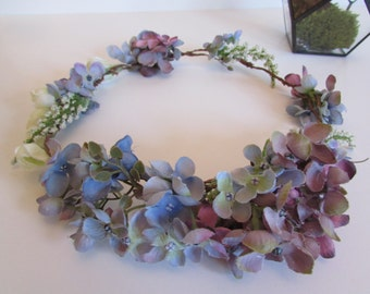 Hydrangea Natural Wedding Flower Crown Romantic Blue and Purple Wedding Headpiece Floral Circlet Bridal Hair Accessory Maternity Photo Prop