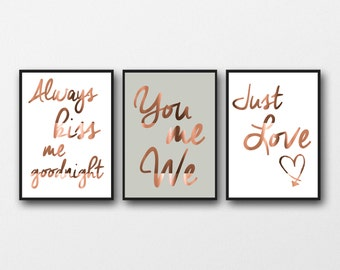 Set of 3 Copper Foil Prints, Typography posters, bedroom wall art, home decor style, real copper, always kiss me, you me we, just love quote