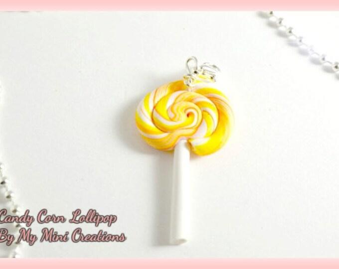 Candy Corn Lollipop Necklace , Miniature Food, Food Jewelry, Miniature Food Jewelry