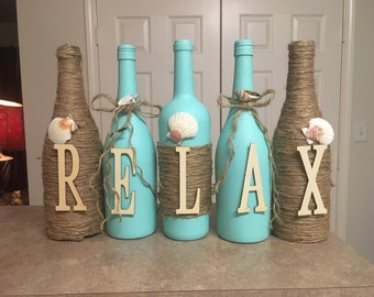 Wine bottle decor.  Hand painted aqua teal- relax-decorated with sea shells