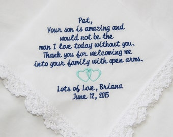 Gift To Groom's Mother From Bride- Embroidered Handkerchief Choose Your Wording and Design