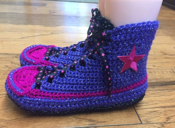 top Womens 8 converse purple tennis 240 converse converse crocheted slippers high slippers slippers crochet Crocheted sneaker 10 shoe pink q4n854aZ